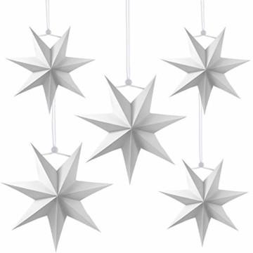 Sunshine smile 5pcs Papier Stern Dekoration,30cm Hänge-Deko aus Papier,faltsterne Weihnachten,3D Sterne Form für Weihnachten,Sterne Form Papier,Papierstern Weihnachtsdeko,Weihnachtstern Papier Dekor - 1