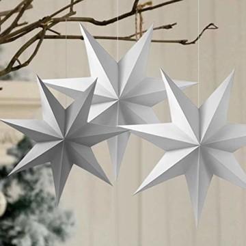 Sunshine smile 5pcs Papier Stern Dekoration,30cm Hänge-Deko aus Papier,faltsterne Weihnachten,3D Sterne Form für Weihnachten,Sterne Form Papier,Papierstern Weihnachtsdeko,Weihnachtstern Papier Dekor - 6