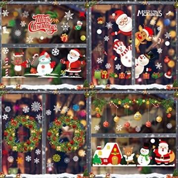 Sunshine smile Fensterbilder Weihnachten,PVC Fensterdeko Selbstklebend, Schneeflocke Fensteraufkleber,Weihnachts-Fenster Dekoration,Aufklebe Weihnachtsmann,Fensterbilder Winter,Schneeflocken Fenster - 2