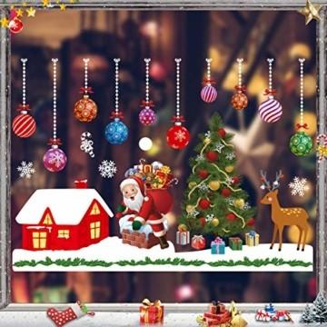 Sunshine smile Fensterbilder Weihnachten,PVC Fensterdeko Selbstklebend, Schneeflocke Fensteraufkleber,Weihnachts-Fenster Dekoration,Aufklebe Weihnachtsmann,Fensterbilder Winter,Schneeflocken Fenster - 1