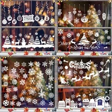 Sunshine smile Fensterbilder Weihnachten,PVC Fensterdeko Selbstklebend, Schneeflocke Fensteraufkleber,Weihnachts-Fenster Dekoration,Aufklebe Weihnachtsmann,Fensterbilder Winter,Schneeflocken Fenster - 7