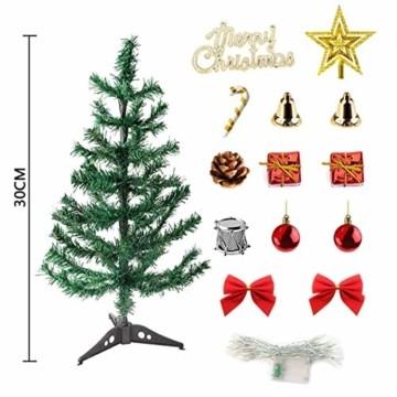 Sunshine smile Mini Weihnachtsbaum,30 cm Mini Weihnachts Baum mit LED Lichterketten,Mini Tannenbaum für Tisch,Weihnachtsbaum Miniatur,Künstlicher Weihnachtsbaum,Weihnachts Baum klein,Christbaum(A) - 2