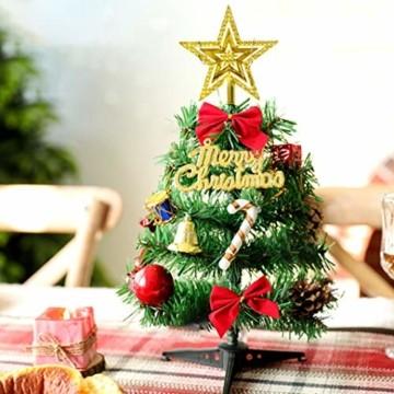 Sunshine smile Mini Weihnachtsbaum,30 cm Mini Weihnachts Baum mit LED Lichterketten,Mini Tannenbaum für Tisch,Weihnachtsbaum Miniatur,Künstlicher Weihnachtsbaum,Weihnachts Baum klein,Christbaum(A) - 3
