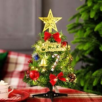 Sunshine smile Mini Weihnachtsbaum,30 cm Mini Weihnachts Baum mit LED Lichterketten,Mini Tannenbaum für Tisch,Weihnachtsbaum Miniatur,Künstlicher Weihnachtsbaum,Weihnachts Baum klein,Christbaum(A) - 4