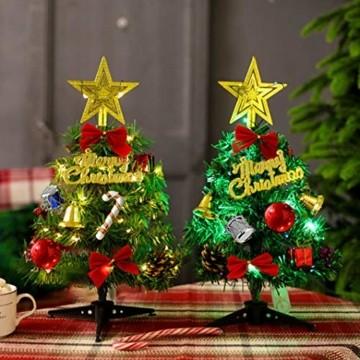Sunshine smile Mini Weihnachtsbaum,30 cm Mini Weihnachts Baum mit LED Lichterketten,Mini Tannenbaum für Tisch,Weihnachtsbaum Miniatur,Künstlicher Weihnachtsbaum,Weihnachts Baum klein,Christbaum(A) - 5