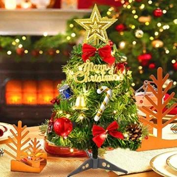 Sunshine smile Mini Weihnachtsbaum,30 cm Mini Weihnachts Baum mit LED Lichterketten,Mini Tannenbaum für Tisch,Weihnachtsbaum Miniatur,Künstlicher Weihnachtsbaum,Weihnachts Baum klein,Christbaum(A) - 6