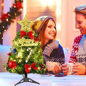 Sunshine smile Mini Weihnachtsbaum,30 cm Mini Weihnachts Baum mit LED Lichterketten,Mini Tannenbaum für Tisch,Weihnachtsbaum Miniatur,Künstlicher Weihnachtsbaum,Weihnachts Baum klein,Christbaum(A) - 7