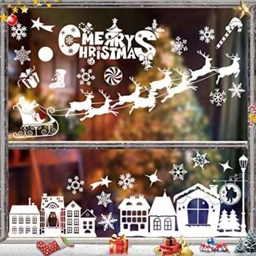 Sunshine smile Schneeflocken Fensterbild,PVC Fensterdeko Selbstklebend,Schneeflocken Fensterdeko,PVC Aufkleber,für Weihnachts-Fenster Dekoration,Vitrinen, Glasfronten,Schaufenster,Türen - 1