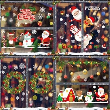 Sunshine smile Weihnachts-Fenster Dekoration,Fensterbilder Weihnachten,Schneeflocken Weihnachtsdeko,Weihnachtsdeko,Winter Dekoration,Schneeflocke Aufkleber Dekoration,Fensterdeko Schneeflocken - 6