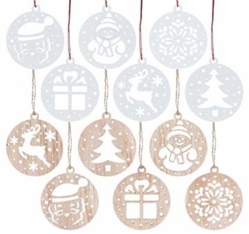 Sweelov 12tlg Holz Weihnachts-Anhänger Holzscheiben Christbaumanhänger Schneemann Schneeflocke Santa Baumschmuck Holz Weihnachtsdeko zum Aufhängen, Weiß & Natur - 1