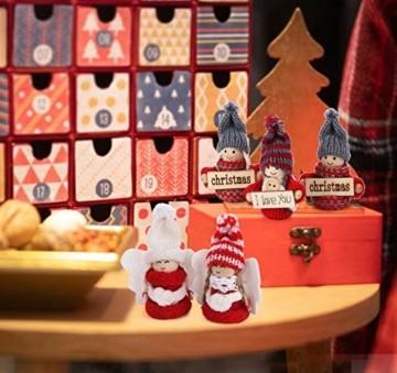 Sweelov 16-teiliges Set Weihnachtswichtel Anhänger Wichtel aus Holz Strick Baumanhänger Weihnachts-Deko Weihnachtsmann Christbaumanhänger, ca.8 cm - 2