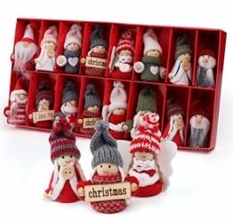 Sweelov 16-teiliges Set Weihnachtswichtel Anhänger Wichtel aus Holz Strick Baumanhänger Weihnachts-Deko Weihnachtsmann Christbaumanhänger, ca.8 cm - 1