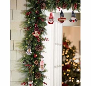 Sweelov 16-teiliges Set Weihnachtswichtel Anhänger Wichtel aus Holz Strick Baumanhänger Weihnachts-Deko Weihnachtsmann Christbaumanhänger, ca.8 cm - 4