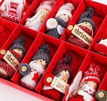 Sweelov 16-teiliges Set Weihnachtswichtel Anhänger Wichtel aus Holz Strick Baumanhänger Weihnachts-Deko Weihnachtsmann Christbaumanhänger, ca.8 cm - 5