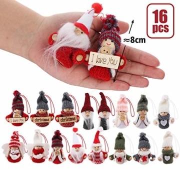 Sweelov 16-teiliges Set Weihnachtswichtel Anhänger Wichtel aus Holz Strick Baumanhänger Weihnachts-Deko Weihnachtsmann Christbaumanhänger, ca.8 cm - 6