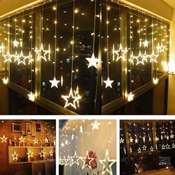 TaimeiMao lichtervorhang Fenster led,Lichtervorhang Lichter Weihnachtsbeleuchtung,Lichterkette,LED Lichterkette,LED Sterne Lichterkette,Lichtervorhang Fenster Sterne,LED Lichtervorhang Lichterkette - 4
