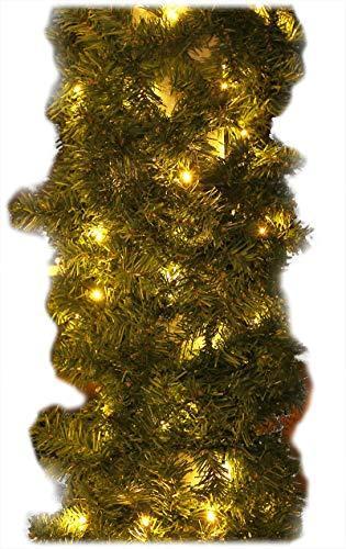 Tannengirlande 20m mit 300 LED Lichterkette warmweiß aussen Girlande künstlich grün Weihnachten - 3