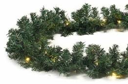 Tannengirlande 20m mit 300 LED Lichterkette warmweiß aussen Girlande künstlich grün Weihnachten - 1