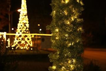 Tannengirlande 20m mit 300 LED Lichterkette warmweiß aussen Girlande künstlich grün Weihnachten - 4