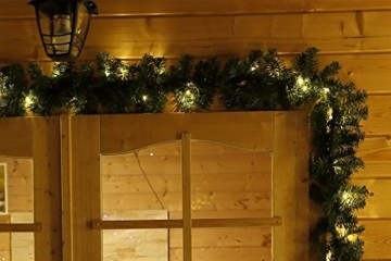 Tannengirlande 20m mit 300 LED Lichterkette warmweiß aussen Girlande künstlich grün Weihnachten - 6