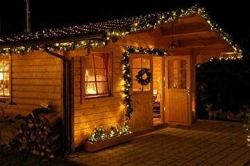 Tannengirlande 20m mit 300 LED Lichterkette warmweiß aussen Girlande künstlich grün Weihnachten - 7
