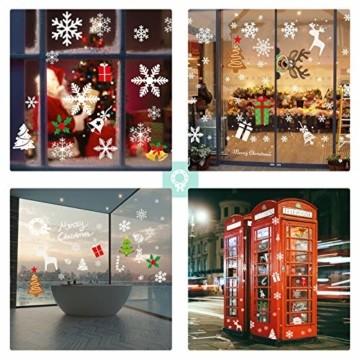 Telgoner Fensterbilder Weihnachten Selbstklebend, Fensterbild Weihnachten Wiederverwendbar, 160 Statisch Haftende Schneeflocken Winterdeko, Weihnachtsdeko Fensterbilder für Tür Schaufenster Vitrinen - 3