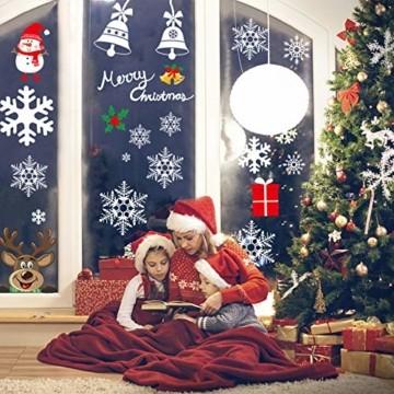 Telgoner Fensterbilder Weihnachten Selbstklebend, Fensterbild Weihnachten Wiederverwendbar, 160 Statisch Haftende Schneeflocken Winterdeko, Weihnachtsdeko Fensterbilder für Tür Schaufenster Vitrinen - 4