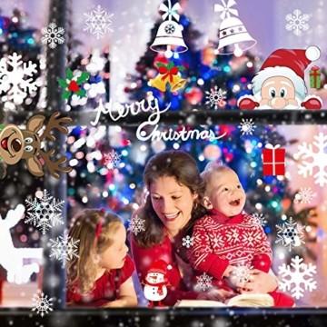 Telgoner Fensterbilder Weihnachten Selbstklebend, Fensterbild Weihnachten Wiederverwendbar, 160 Statisch Haftende Schneeflocken Winterdeko, Weihnachtsdeko Fensterbilder für Tür Schaufenster Vitrinen - 1