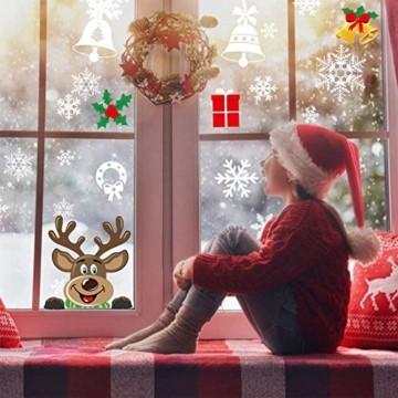 Telgoner Fensterbilder Weihnachten Selbstklebend, Fensterbild Weihnachten Wiederverwendbar, 160 Statisch Haftende Schneeflocken Winterdeko, Weihnachtsdeko Fensterbilder für Tür Schaufenster Vitrinen - 5