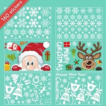 Telgoner Fensterbilder Weihnachten Selbstklebend, Fensterbild Weihnachten Wiederverwendbar, 160 Statisch Haftende Schneeflocken Winterdeko, Weihnachtsdeko Fensterbilder für Tür Schaufenster Vitrinen - 8