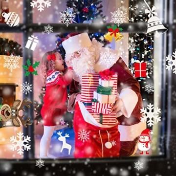 Telgoner Fensterbilder Weihnachten Selbstklebend, Fensterbild Weihnachten Wiederverwendbar, 160 Statisch Haftende Schneeflocken Winterdeko, Weihnachtsdeko Fensterbilder für Tür Schaufenster Vitrinen - 9