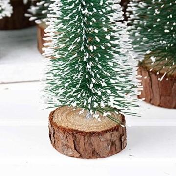 TheStriven 10 Stück Mini Weihnachtsbaum Künstlicher Kleiner Kiefernbaum mit Holzsockel künstliche Tanne Mini Tannenbaum Künstlich mit Schnee-Effek DIY Grün Klein Mini Christbaum für Weihnachten Party - 2