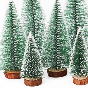 TheStriven 10 Stück Mini Weihnachtsbaum Künstlicher Kleiner Kiefernbaum mit Holzsockel künstliche Tanne Mini Tannenbaum Künstlich mit Schnee-Effek DIY Grün Klein Mini Christbaum für Weihnachten Party - 3