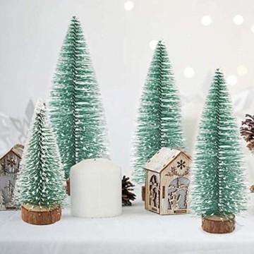 TheStriven 10 Stück Mini Weihnachtsbaum Künstlicher Kleiner Kiefernbaum mit Holzsockel künstliche Tanne Mini Tannenbaum Künstlich mit Schnee-Effek DIY Grün Klein Mini Christbaum für Weihnachten Party - 4