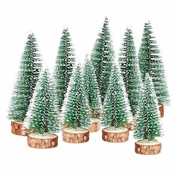 TheStriven 10 Stück Mini Weihnachtsbaum Künstlicher Kleiner Kiefernbaum mit Holzsockel künstliche Tanne Mini Tannenbaum Künstlich mit Schnee-Effek DIY Grün Klein Mini Christbaum für Weihnachten Party - 1