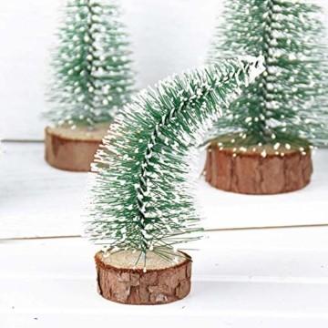 TheStriven 10 Stück Mini Weihnachtsbaum Künstlicher Kleiner Kiefernbaum mit Holzsockel künstliche Tanne Mini Tannenbaum Künstlich mit Schnee-Effek DIY Grün Klein Mini Christbaum für Weihnachten Party - 5