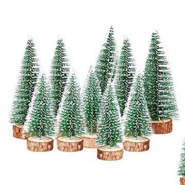 TheStriven 10 Stück Mini Weihnachtsbaum Künstlicher Kleiner Kiefernbaum mit Holzsockel künstliche Tanne Mini Tannenbaum Künstlich mit Schnee-Effek DIY Grün Klein Mini Christbaum für Weihnachten Party - 6