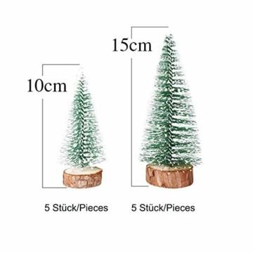 TheStriven 10 Stück Mini Weihnachtsbaum Künstlicher Kleiner Kiefernbaum mit Holzsockel künstliche Tanne Mini Tannenbaum Künstlich mit Schnee-Effek DIY Grün Klein Mini Christbaum für Weihnachten Party - 7