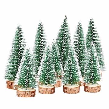 TheStriven 10 Stück Mini Weihnachtsbaum Künstlicher Kleiner Kiefernbaum mit Holzsockel künstliche Tanne Mini Tannenbaum Künstlich mit Schnee-Effek DIY Grün Klein Mini Christbaum für Weihnachten Party - 8