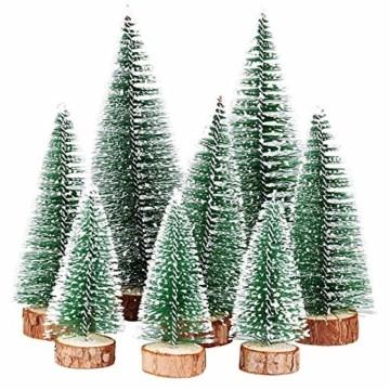 TheStriven 10 Stück Mini Weihnachtsbaum Künstlicher Kleiner Kiefernbaum mit Holzsockel künstliche Tanne Mini Tannenbaum Künstlich mit Schnee-Effek DIY Grün Klein Mini Christbaum für Weihnachten Party - 9