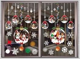 THOWALL Weihnachten Fenstersticker, 2PCS Weihnachtsmann Weihnachten Rentier Aufkleber & Schneeflocken Aufkleber Fensterbilder Abnehmbare Fensterdeko Statisch Haftende PVC Aufkleber Winter Dekoration - 1