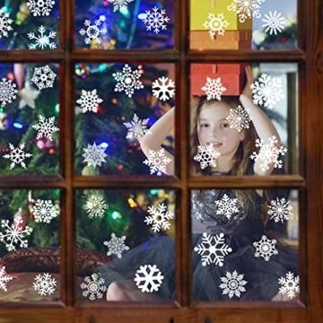THOWALL Weihnachten Fenstersticker, 2PCS Weihnachtsmann Weihnachten Rentier Aufkleber & Schneeflocken Aufkleber Fensterbilder Abnehmbare Fensterdeko Statisch Haftende PVC Aufkleber Winter Dekoration - 4