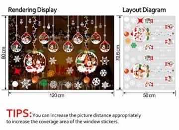 THOWALL Weihnachten Fenstersticker, 2PCS Weihnachtsmann Weihnachten Rentier Aufkleber & Schneeflocken Aufkleber Fensterbilder Abnehmbare Fensterdeko Statisch Haftende PVC Aufkleber Winter Dekoration - 5