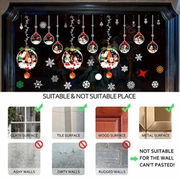 THOWALL Weihnachten Fenstersticker, 2PCS Weihnachtsmann Weihnachten Rentier Aufkleber & Schneeflocken Aufkleber Fensterbilder Abnehmbare Fensterdeko Statisch Haftende PVC Aufkleber Winter Dekoration - 7