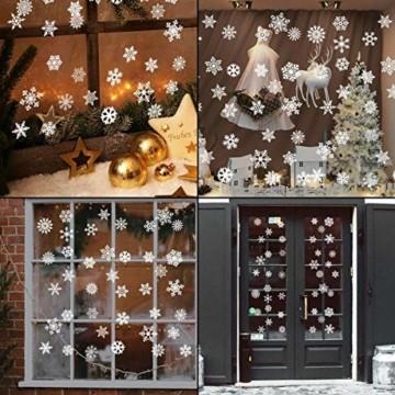 THOWALL Weihnachten Fenstersticker, 2PCS Weihnachtsmann Weihnachten Rentier Aufkleber & Schneeflocken Aufkleber Fensterbilder Abnehmbare Fensterdeko Statisch Haftende PVC Aufkleber Winter Dekoration - 9