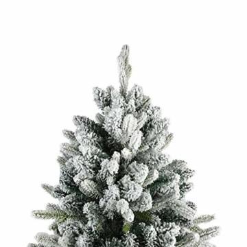 TOLEAD 180cm beflockter künstlicher Weihnachtsbaum mit Schnee, Tannenbaum mit faltbarem Metallständer, 1080 Spitzen, für Feiertagsdekoration, einfache Montage - 2