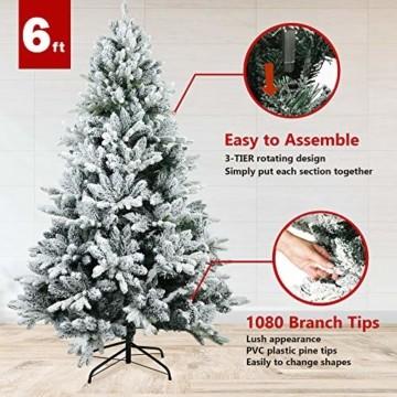 TOLEAD 180cm beflockter künstlicher Weihnachtsbaum mit Schnee, Tannenbaum mit faltbarem Metallständer, 1080 Spitzen, für Feiertagsdekoration, einfache Montage - 3