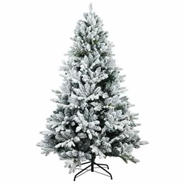 TOLEAD 180cm beflockter künstlicher Weihnachtsbaum mit Schnee, Tannenbaum mit faltbarem Metallständer, 1080 Spitzen, für Feiertagsdekoration, einfache Montage - 1