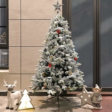 TOLEAD 180cm beflockter künstlicher Weihnachtsbaum mit Schnee, Tannenbaum mit faltbarem Metallständer, 1080 Spitzen, für Feiertagsdekoration, einfache Montage - 5