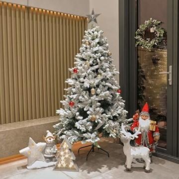 TOLEAD 180cm beflockter künstlicher Weihnachtsbaum mit Schnee, Tannenbaum mit faltbarem Metallständer, 1080 Spitzen, für Feiertagsdekoration, einfache Montage - 6